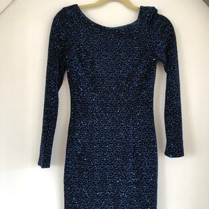Hobbs London blue satin and sequins dress, size 2